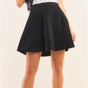 Sugar + Lips Black Laser Cut Scuba Skater Skirt NWT